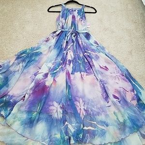 Chicwish floral watercolor maxi dress